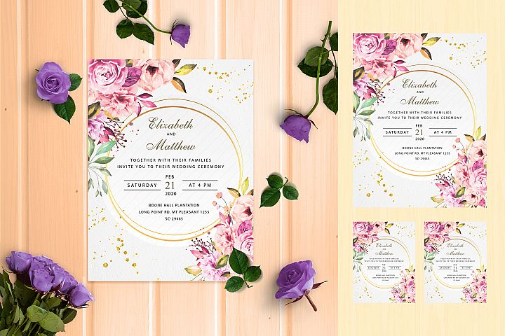 Modern Floral Wedding Invite