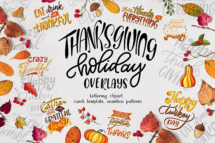 Thanksgiving holiday overlays, clipart