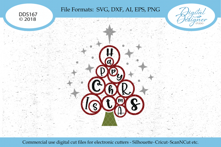 Whimsical Wild Happy Christmas Tree SVG DXF EPS PNG Cut File