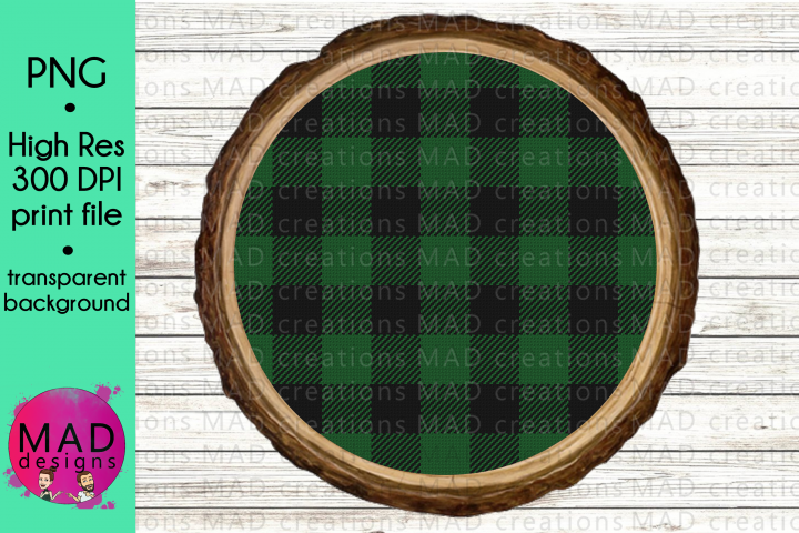 Green and Black Buffalo Plaid Wood Slice - Template
