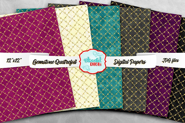 Digital Papers Bundle - Gemstone Quatrefoil - JPG