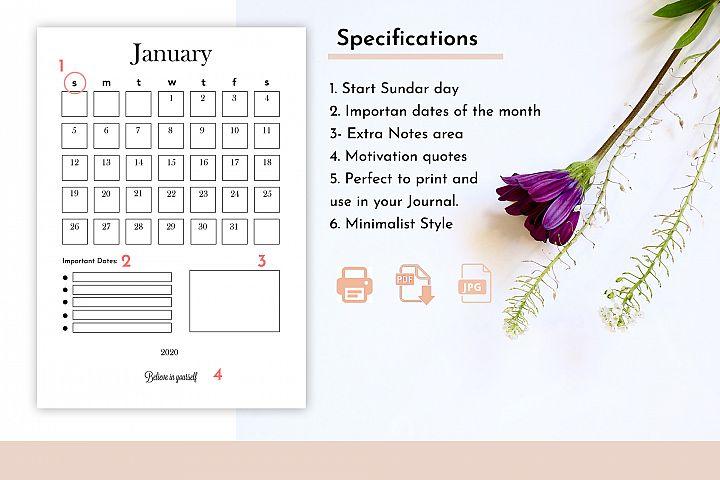 Journal Calendar 2020 | Organizer Calendar PDF - JPG
