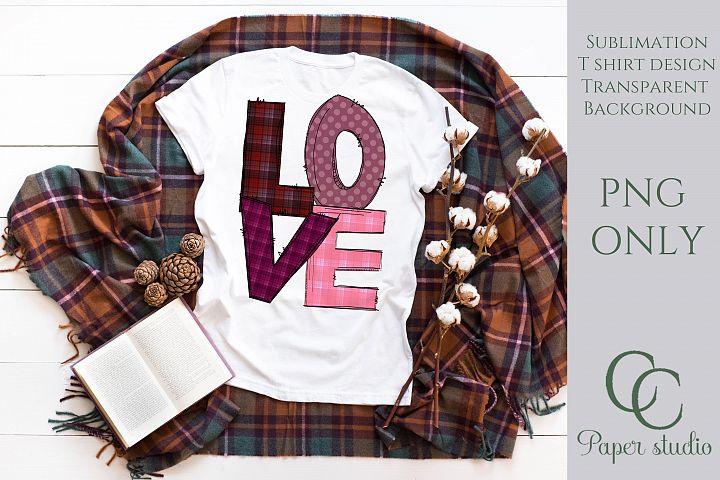 Love pink plaid sublimation tshirt/mug design