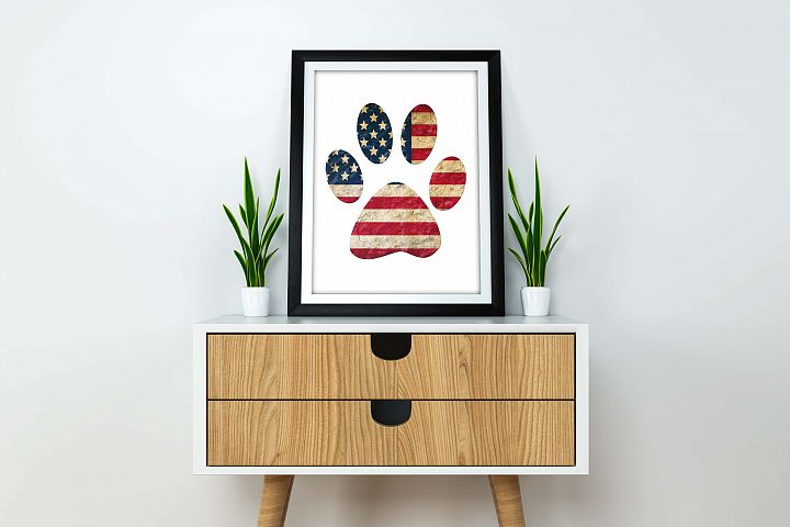 Patriotic paw print flag PNG printable Digital
