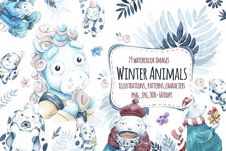 Watercolor Winter animals