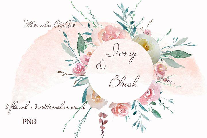 Peach floral wreath watercolor clipart design invitation