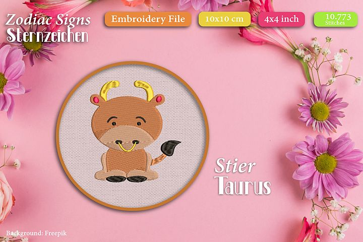 Zodiac sign - Taurus - Embroidery Files