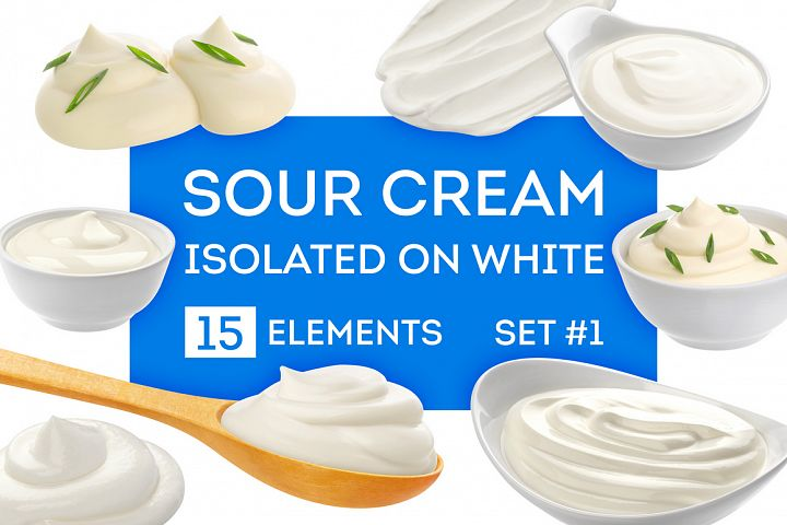 Sour cream bundle, isolated on white