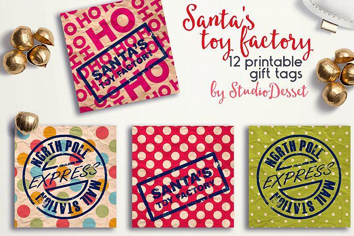Christmas Gift Tags - Santas Toy Factory Printable Tag