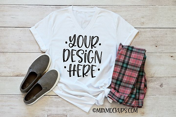White t-shirt mockup Bella Canvas 3001, shoes and plaid