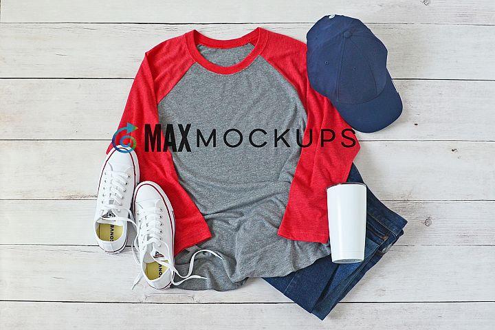 Gray, redraglan baseball shirt Mockup, summer, flatlay