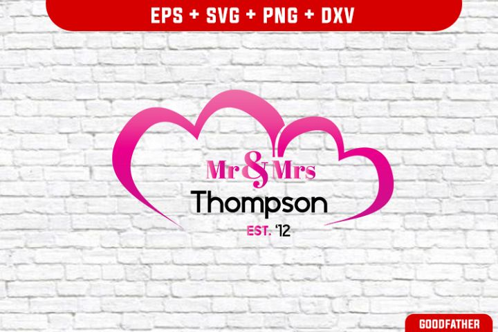 Mr. & Mrs. Split Monogram Frame SVG , PNG, EPS, SVG