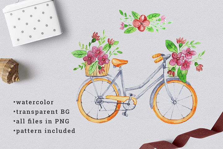 Watercolor bicycle with flowers 1