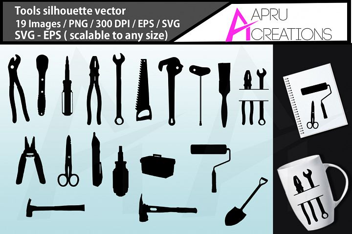 Tools silhouette vectors , Svg, Dxf, Png, Eps, illusration