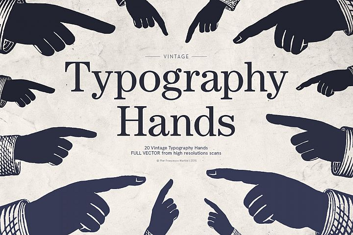 Vintage Typography Hands