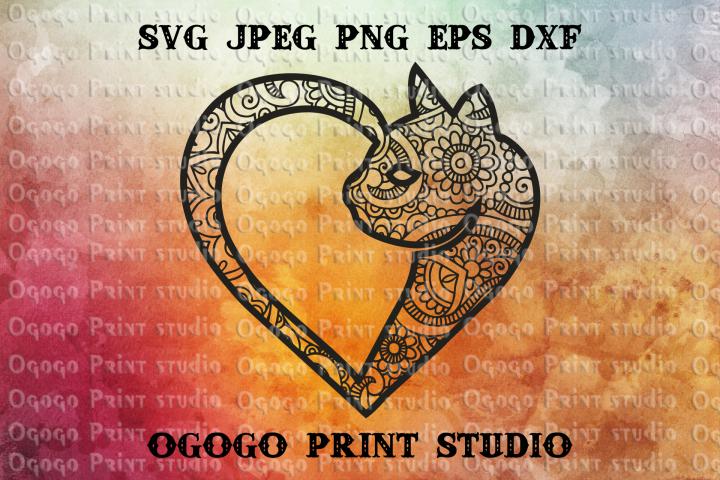 Mandala style Cat SVG, Zentangle SVG, Heart SVG, Pet lover
