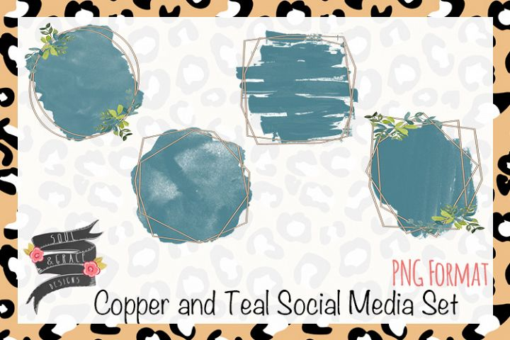 Copper and Teal Social Media Set for Facebook or Instagram
