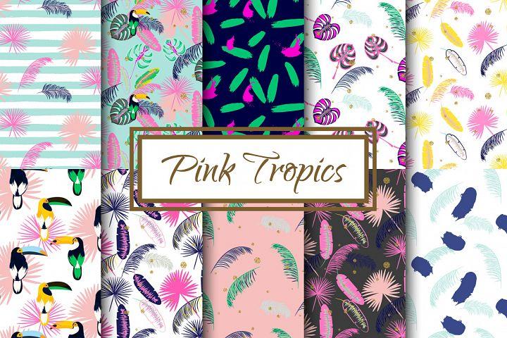 Pink Tropics seamless patterns