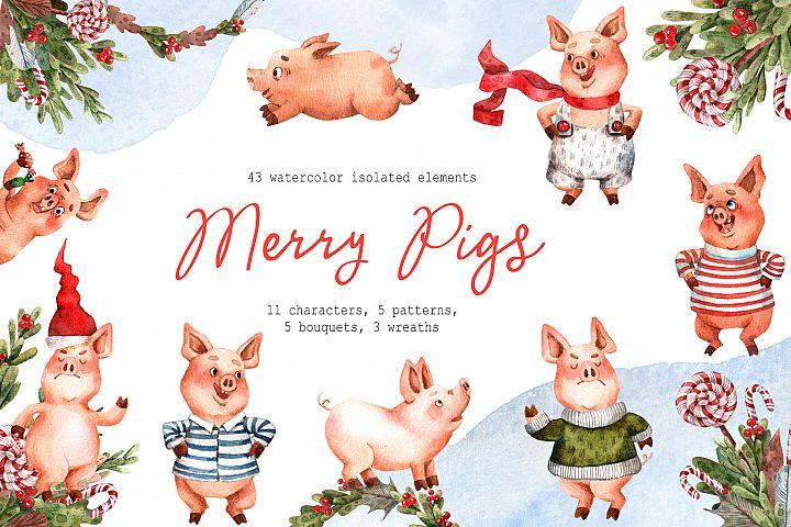 Merry Pigs - Watercolor Clip Art Set