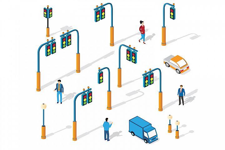 Set of city isometric traffic lights