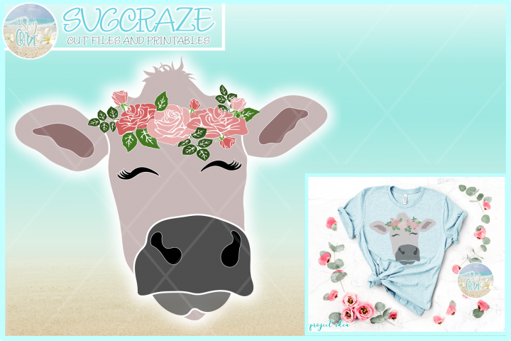 Cow Face With Roses Svg Dxf Eps Png Pdf Files