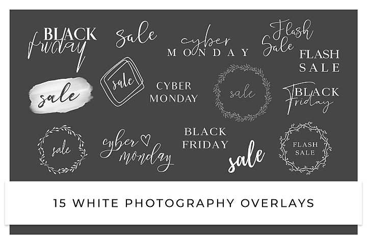 Sale, Black Friday, Cyber Monday photography overlays WHITE