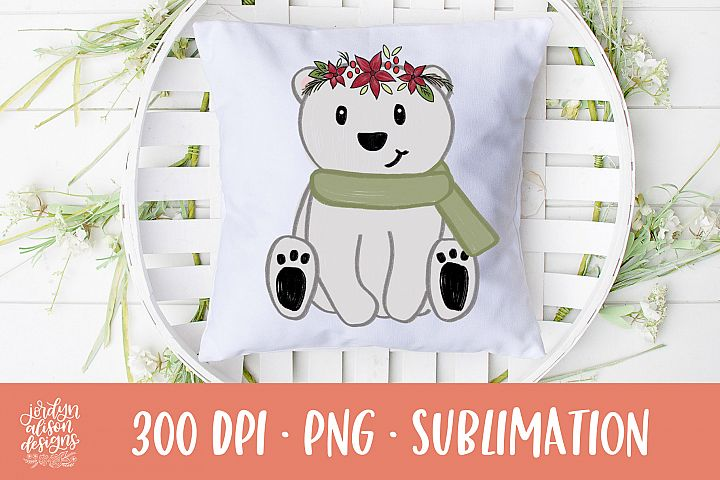 Christmas Polar Bear, Sublimation Design