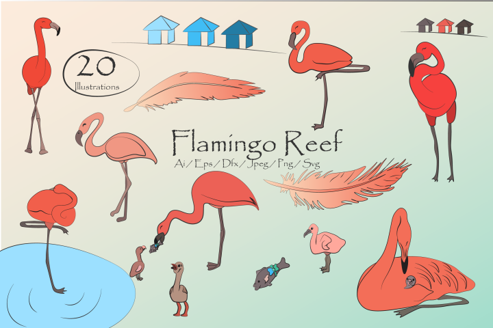 Flamingo Reef- Cute Flamingos Clipart