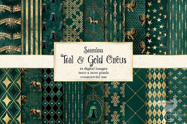 Teal and Gold Circus Digital Paper