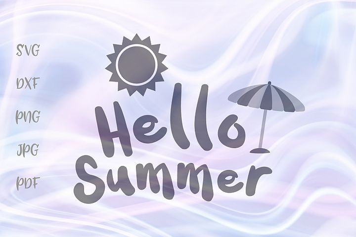 Hello Summer Beach Umbrella Sun Clipart Cut File SVG DXF PNG