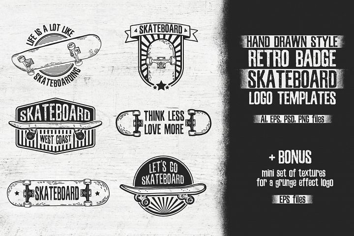 Retro skateboard | Template logo set