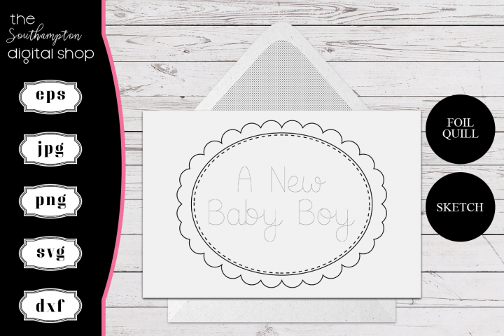 A New Baby Boy Foil Quil Card Design