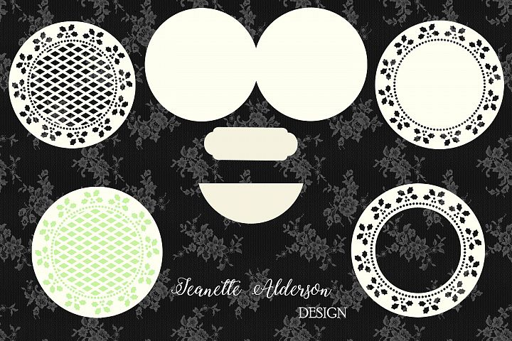Round Christmas Holly Easel Card digital cutting file