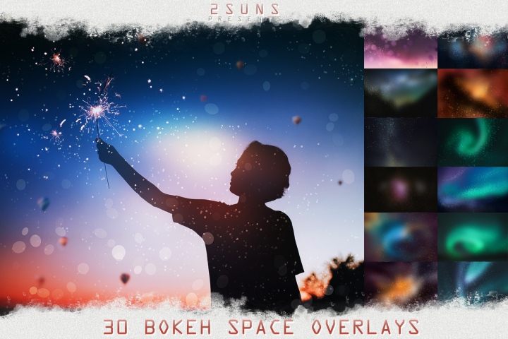 Download photo overlays space floating bokeh christmas shine