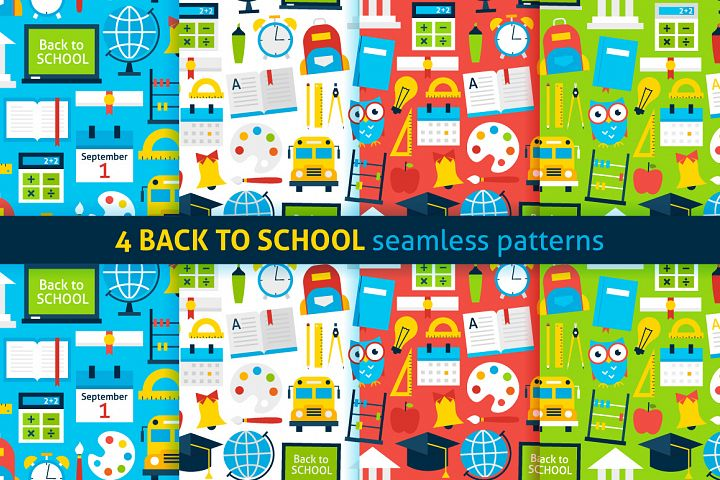 School Flat Seamless Patterns
