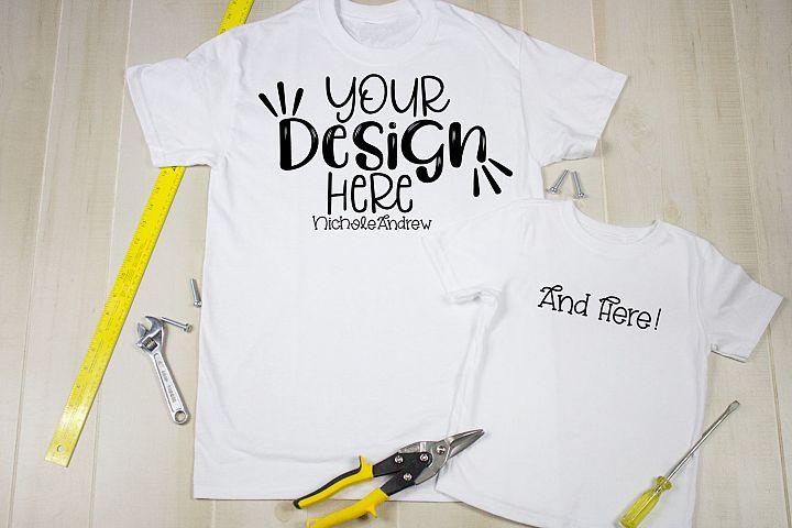 Gildan White Shirt, Toddler Shirt & Tools Mockup