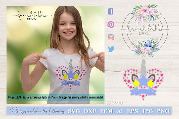 Unicorn Horn with Banner SVG DXF LL234C