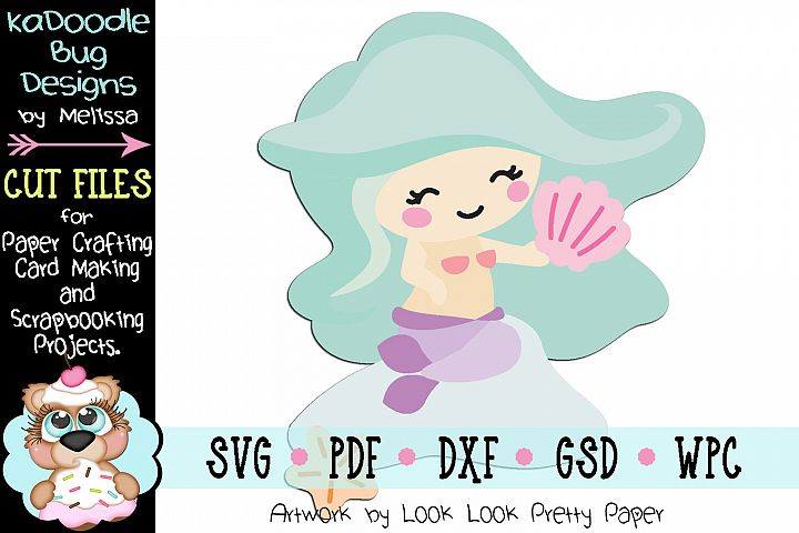 Sitting Mermaid Cut File - SVG PDF DXF GSD