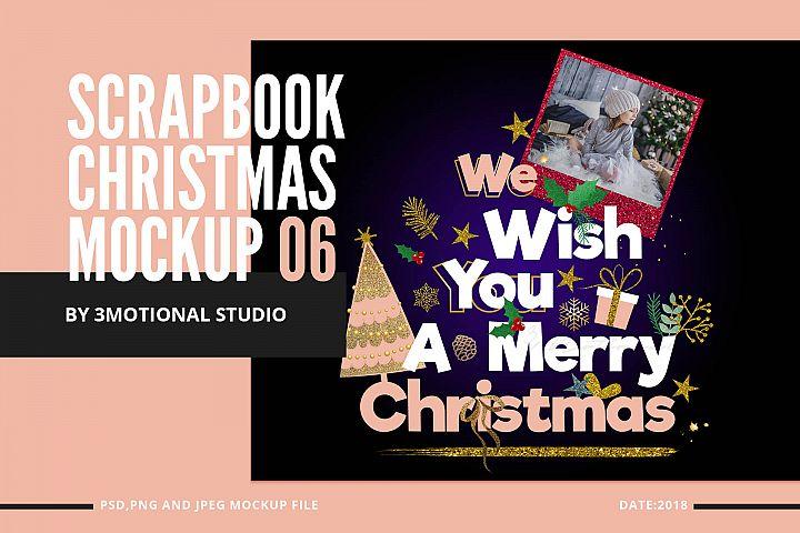 Glitter Scrapbook Christmas Clipart Mockup 06