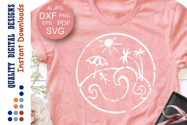 Summer sign svg Grunge shirt design Vector files Beach