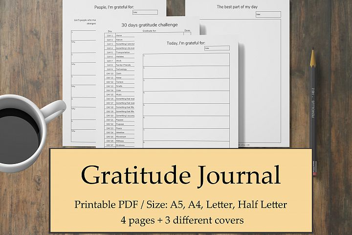Gratitude Journal Printable, Grateful Planner, Mental Health