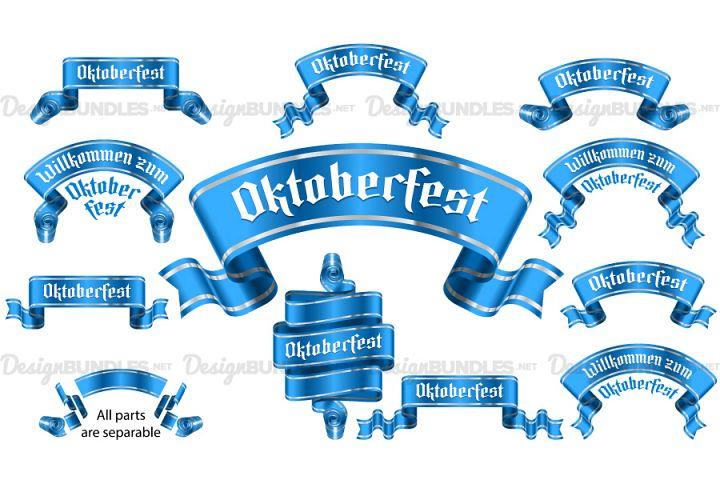Vector Banner Ribbon Oktoberfest Label Gothic Achieving Set
