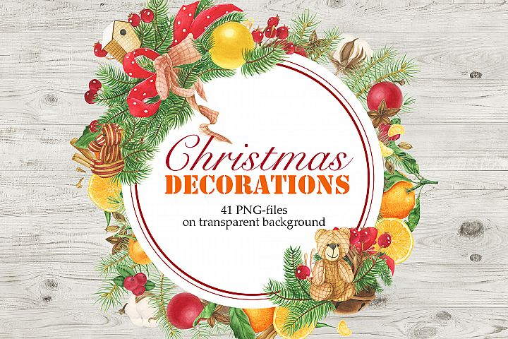 Watercolor Christmas Decorations Clipart