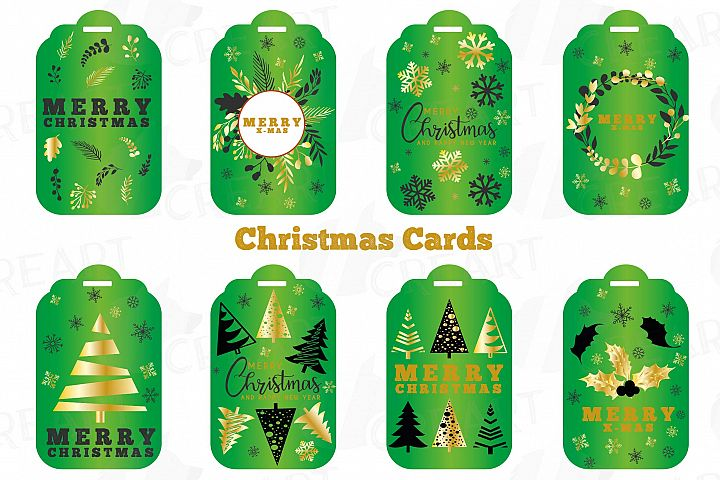 Green Christmas Cards, Merry Christmas printable labels png