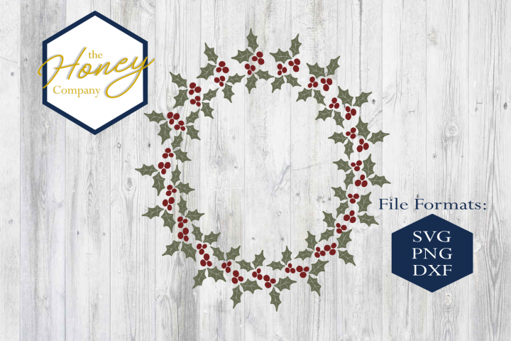 Holly Wreath SVG PNG DXF Christmas Monogram Circle Winter