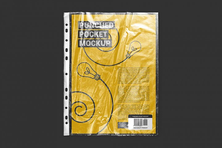 Punched Pocket For A4 Paper Size Mockup
