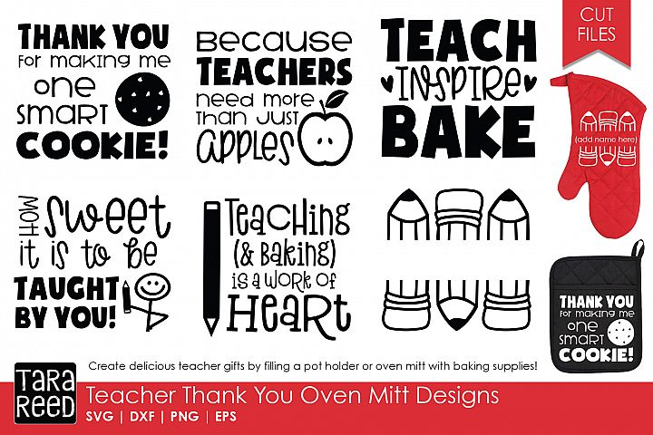 Teacher Thank You Oven Mitts - Teacher SVG files 4 Crafters