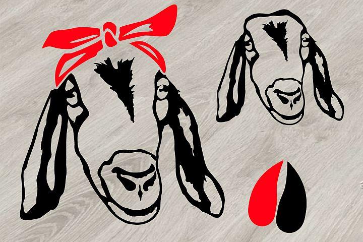 Goat Head whit Bandana SVG, feet goats Farm Milk 793S