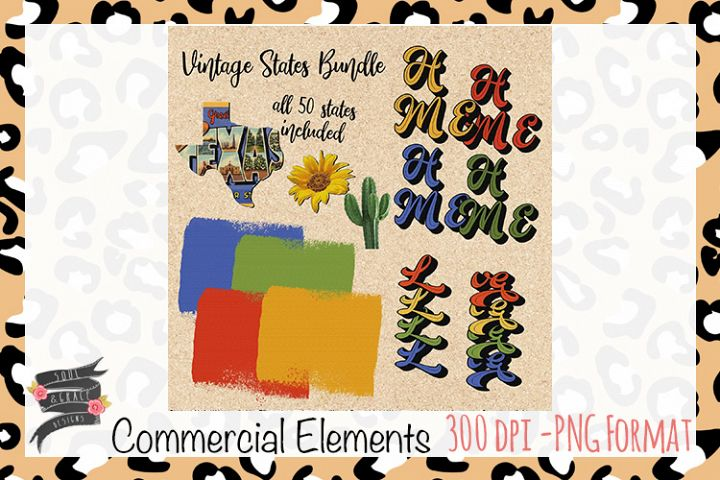 Vintage Postcard States Commercial Elements