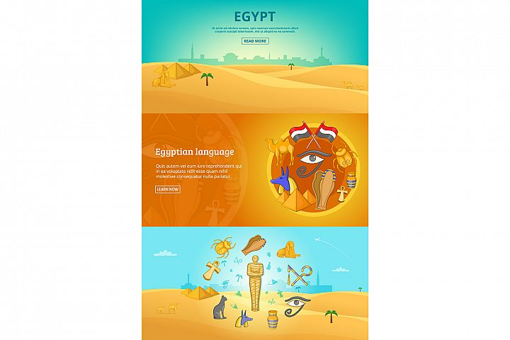 Egypt paper banners set vector illustration